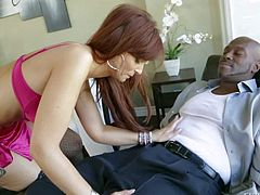 Dirty and horny redhead pornstar hottie Syren De Mer enjoys in showing up in her silky lingerie and seducing Lexington Steele with her sexy curved body and hot ass
