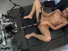 Petite dark-haired hottie Sara Luvv is getting naughty indoors. She gets her vag rubbed and fucked by a few sex machines and seems to enjoy it much.