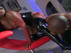 Jada is dressed like a whore and acts like one too. This black beauty likes putting men down on their knees and here, she has one under her charm. He obediently licks her boots and that sexy ass, before putting his lips between her thighs. Jada loves the feeling of domination and wants more of it!
