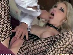 The big boobed blonde Candy Manson is getting her snatch fucked today and she's moaning with pleasure.