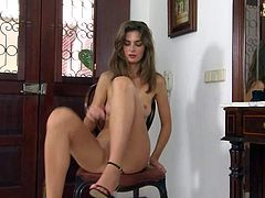 Charlotta is a pretty brunette with sexy body. Temptress in shoes demonstrates her lovely perky tits as she bangs her shaved snatch with her fingers with her long lovely legs apart.