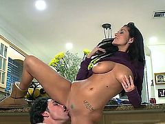 Black haired smoking hot bombshell Ava Adams with gigantic stunning knockers and great oral skills get on knees and gives memorable blowjob to her lover in point of view.