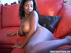 Busty ebony loves pissing during solo
