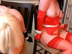 Two gorgeous and arousing pornstar hotties Anastasia Pierce and Emily enjoy in their time in the room, all half stripped and tied up to chairs and recorded by webcam
