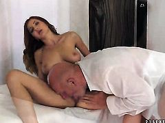 Brunette Alice Romain with huge hooters cant resist guys rock hard worm and takes it in her mouth