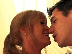 Darla Crane and Denis Marti enjoy in seducing a hot brunette milf India Summer and making a hot and arousing threesome sex session with her in the bathroom in front of the mirror