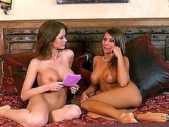 Emily Addison with gigantic jugs and bald beaver is too horny to stop masturbating
