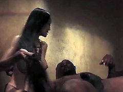 Sweet-looking babe from Asia Ange Venus has unforgettable pounding with muscle black man that got really huge piece of meat. She gets his tool into mouth and vagina.