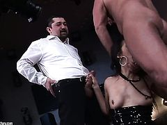 Brunette sexy Samia Duarte has fire in her eyes as she enjoys deadeye fucking