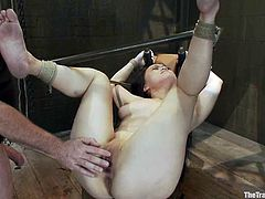 Tied up Asian girl gets tortured and bonded. Later on she gives a blowjob and gets whipped. She also gets fucked in her tight pussy.