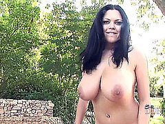 young busty babe Shione Cooper spreading her shaved pussy