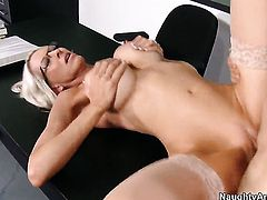 Emma Starr with massive hooters and bald cunt gets penetrated hard and deep by Giovanni Francesco