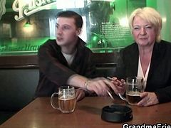 Check this drunk and busty blonde Granny getting banged from both ends by two young studs in this amazing threesome video.