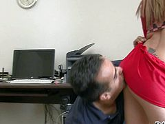 Jamie Elle is a seductively sexy babe dressed in red. She shows her perfect round ass to a lucky dude without taking off her red panties. He admires her butt cheeks at the office.