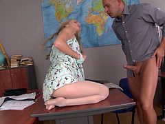 She is skanky student with long legs and smooth soles. She rubs her teacher's hard dick with her feet. Then she takes his dick in her pretty mouth sucking it deepthroat.