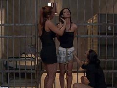 Slutty brunette babe in short school skirt Betty Stylle gets herself in really big trouble, cause she gets locker up, tied up and mouth gagged by two dominant lesbians