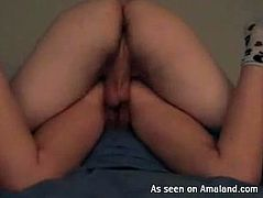 The cam is turned on. Horny boyfriend polishes the wet cunt of his nasty gal with a dildo and then polishes her wet pussy from behind as tough as possible, causing slim girlie with nice ass moan like a mad one of delight.