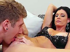 Danny Wylde loves to fuck India Summer and she also loves sucking his hard cock in her mouth