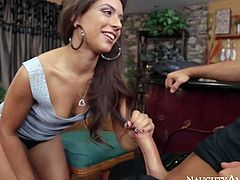 Adorable brunette sexy Jynx Maze with natural perky boobs and delicious ass in high heels only makes out with Chad White and gets pounded hard in doggy style position