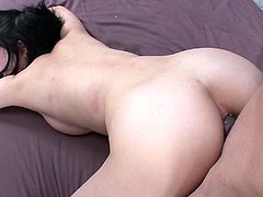 Foxy Japanese cutie kneels down in front of two horny dudes to give them simultaneous blowjob before she bends down to welcome a hard fuck from behind while keeping sucking a sturdy penis in sizzling hot MMF sex video by Jav HD.