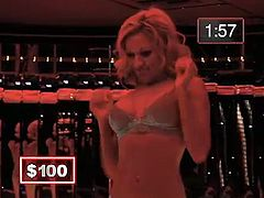 Can this sexy blonde babe distract this guy as he plays the money game, Show Us Your Wits, or will he persevere and not be tempted by her strip tease dance for the chance to win cash.