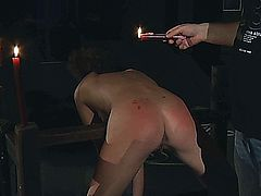 Curly-haired slut spanked and ass fucked