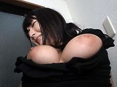 This busty and naughty Japanese honey gives a real hot blowjob to her new sex friend. Well, he did not count on such a quick development!