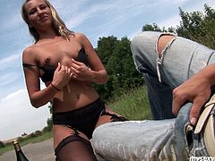 Luscious Russian girl Vera sucks dick right in the middle of the road