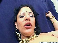 Lucky guy drills that tight Indian brunette whore on the couch