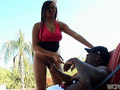Zealous hot Gal Bethany Benz lures her boyfriend in the luxury house. Kinky nympho gets rid of red top, plays with boobs and stretches legs wide to get her juicy pussy eaten. She moans and spins of pleasure while getting a tender cunnilingus. Ardent girlie repays with a solid blowjob provided to a fat black dick.