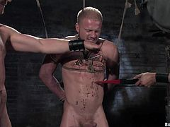 Check out this bondage video where a horny pack of gay hunks have fun sucking and torturing one another in this great film.