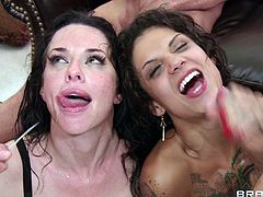 Veronica Avluv & Bonnie Rotten are getting their pussies rammed really hard. These big cocked dudes know how to pound like champs and jizz allover these sluts!