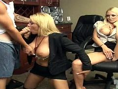 Blonde bombshell Eva Patron and her bewitching GF are having fun with some guy in the kitchen. They pet the man and play with his prick and then let him fuck their cunts on the kitchen counter.