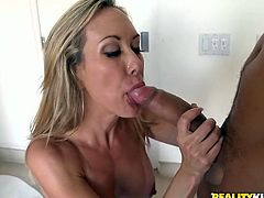 Passionate blonde with big boobs gets her ass and pussy licked. Later on she gives an amazing blowjob and gets fucked rough.