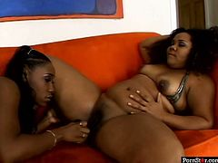 Plump ebony lesbians Jessica Allbutt and Nikole Richie eat each other's cunts
