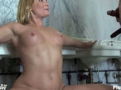 Sexy blond gets naked and sucks that huge cock