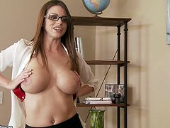 Rapacious busty brown haired secretary obediently exposes her great curves to her boss. She plays with her big natural boobs before sucking her boss's thick throbbing dick.