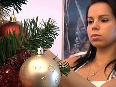 Ferrara Gomez is preparing Christmas tree, while this horny old-man is watching her tight round ass from far.Young and hot brunette babe knows that he is watching her and decides to make him happy by offering her tight pussy