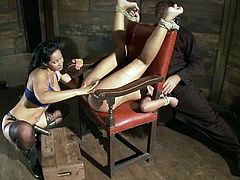 Skin Diamond is going to be tied up in a exposed position so the dominant Isis Love can come and fuck her with her strapon.
