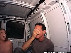 What the hell is this chestnut nympho doing in the car? Well, I have no fucking idea... But hilarious bitch sits between two dudes smiling happily. She plays with her big boobs and spreads legs wide to get her juicy cunt licked right away.