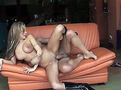 Blonde watches as a hard big cock penetrates her wet pussy and ass and later cums on her face