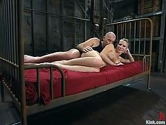 There's a beautiful and hot blonde babe who is going to get dominated in this bondage session packed with rough hardcore sex.