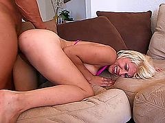 With a new step dad like Lee Stone, who happens to have a huge cock, it's no wonder the lovely blonde step daughter Candi Lynn, keeps walking by him, letting her tits hang out and wearing her provocative mini skirt, letting him see her smooth legs and panties, until they come off and his dick goes into her shaved box, screwing her for a facial cumshot.