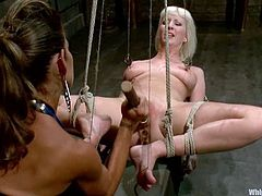 This female domination video has Felony playing with Cherry Torn, tying her up, fucking her pussy with her strapon and more.