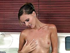 Blonde spends time rubbing her love tunnel