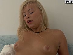 Blonde titless milf and her cute girlfriend fuck one guy. They give him nice double blowjob on the POV scene and lick each other in lesbian 69 style.