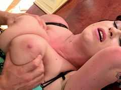 She pleases her horny student with a blowjob and titjob combo. After a while she fucks in missionary position. Press play and enjoy the action!