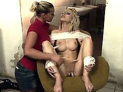 Blonde Kathia Nobili with juicy breasts opens her legs to be tongue fucked by lesbian Isabell Cat