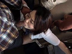 Yuna Satsuki is traveling home from school on the train, when a bunch of horny men start to grab her. They lift up her skirt and finger her hairy, wet pussy. She takes turns sucking each of the guys big dicks.