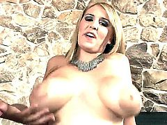 Horny blonde Athena pleasures two huge hard poles in a steamy threesome sex
